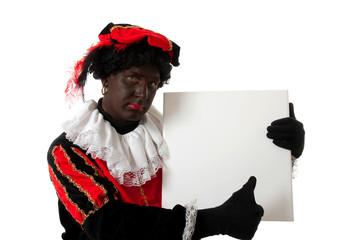 Zwarte Piet ( black pete) typical dutch character holding board