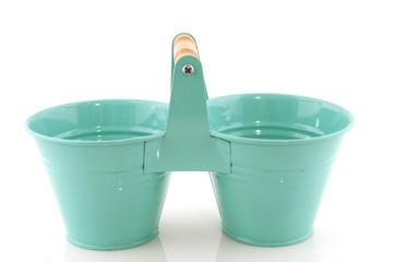 Blue double buckets