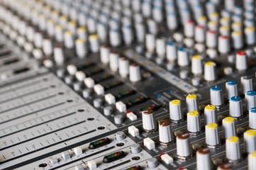Professional sound mixer closup