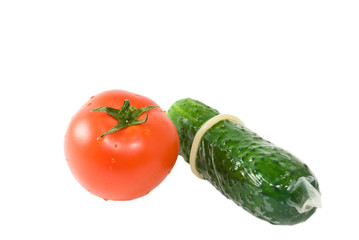 tomato and cucumber in a condom