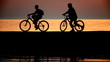 Silhouettes of two cyclists at sunset in the sea.