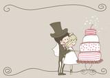 wedding set - couple cutting yummy wedding cake