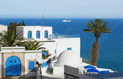 In de dag Tunesië maisons méditerranéenne