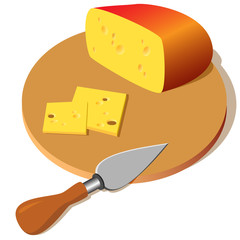 cheese on a board with a knife