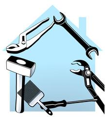 Werkzeug und Haus