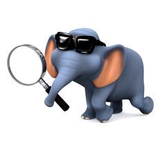 3d Elephant holds magnifying glass