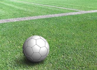 Pallone da calcio bianco a bordo campo