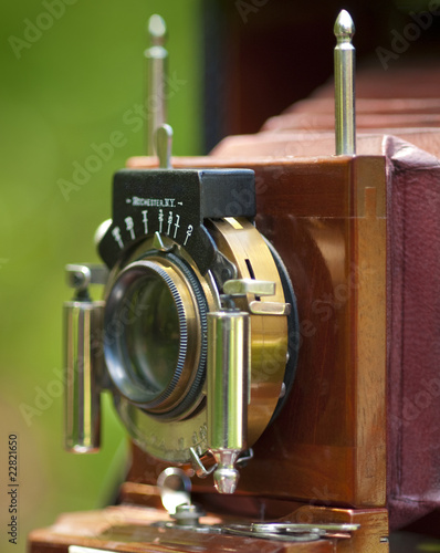 Close up of antique camera lens with very limited DOF
