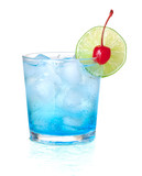 Blue alcohol cocktail with maraschino and lime