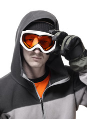 Portrait of snowboarder setting orange glasses straight isolated