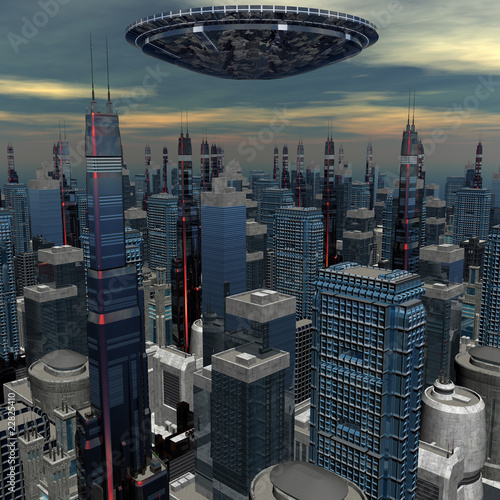 alien UFO ship in futuristic landscape