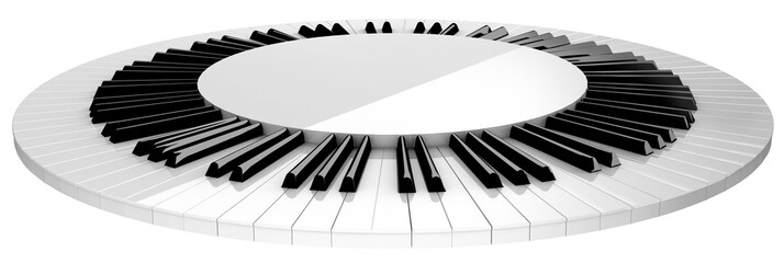 circle piano keyboard stage isolated on white