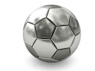 Silver or platinum soccer ball on white
