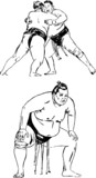 Sumo men - hand drawing illustration