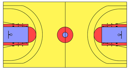 An exact scale vector basketball court illustration