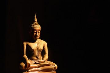 Light of Buddha image in the dark background.
