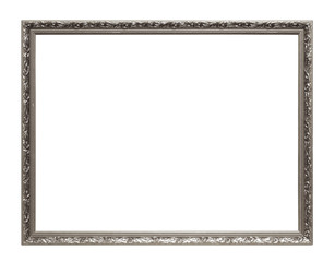 Silver art frame isolated on white