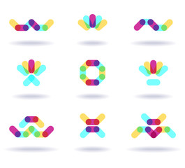Set of colorful logos, vector illustration