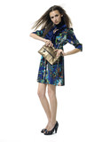 Vogue style photo of fashion girl holding little purse poster