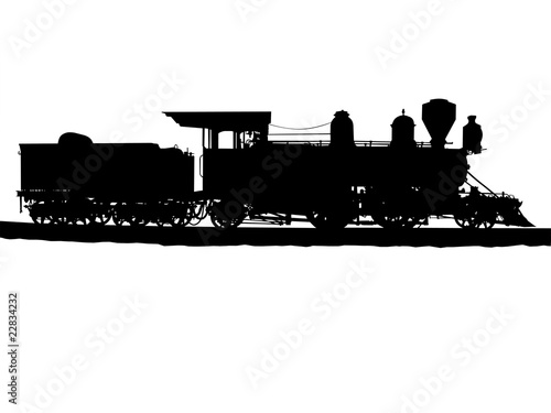 Vintage steam train silhouette