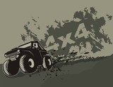 Vector illustration off road car with grunge background.