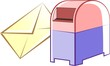 Illustration of envelope for mail near post box
