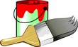 Illustration of paint container and brush