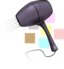 Illustration of hand shower with colour background
