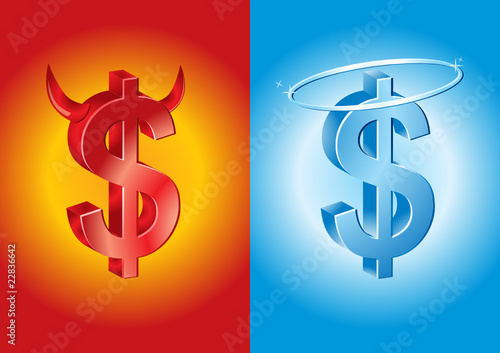 dollar sign as devil and angel