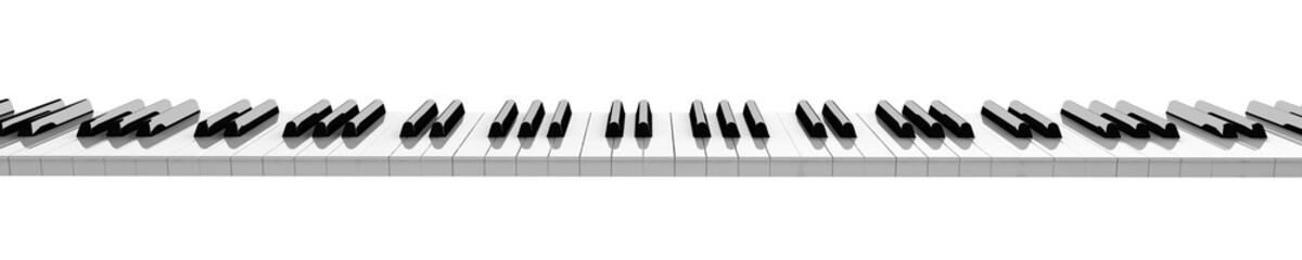 horizontal piano keyboard isolated on white background