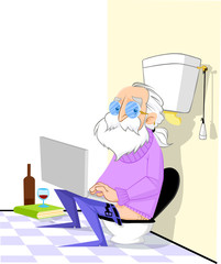 Old guy using computer in toilet