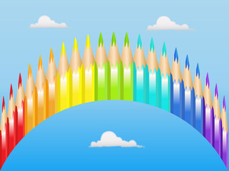 Color pencils in the form of a rainbow