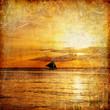 Quadro Tropical sunset - retro syled