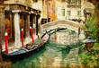 Leinwanddruck Bild - amazing Venice - vintage cards series