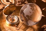 Fototapety Old Compass and globe