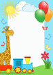 roleta: Children's photo framework. Giraffe and train.