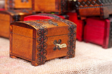 Small wooden casket and  key