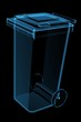 Large Recycle Bin 3D xray blue transparent