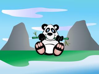 Panda eat bamboo leaf