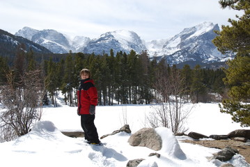 Young Boy Snowshoeing in the Rockies