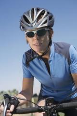 Mid adult cyclist