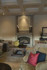 Darkly lit living room with fireplace