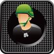 army man black checkered web button