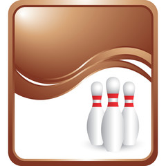 bowling pins bronze wave background