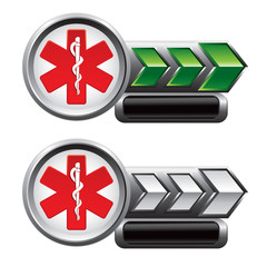 caduceus green and white arrow nameplates