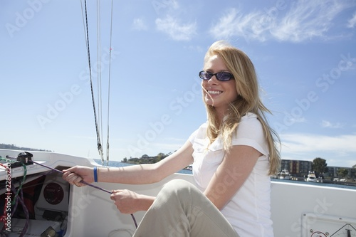 Young woman sailing