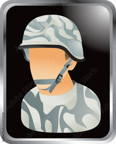 army man silver framed web button