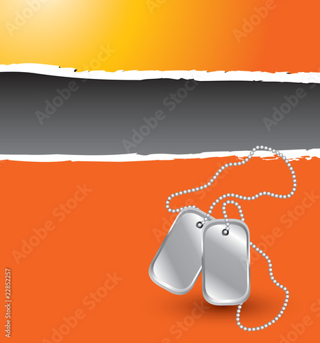 dog tags orange ripped template