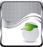 golf ball with visor silver checkered wave