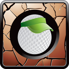 golf ball with visor bronze cracked web icon